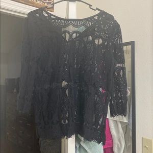 Black lace top with 3/4 inch sleeves